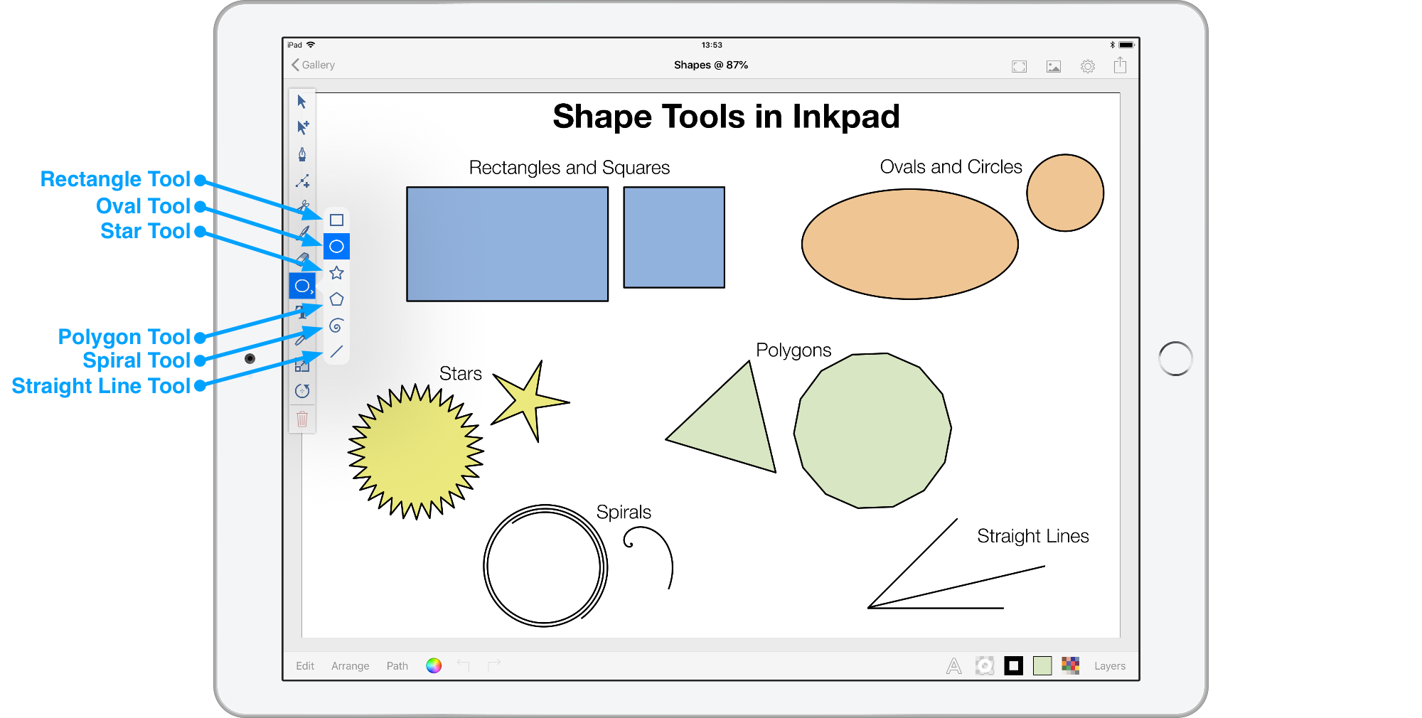 Inkpad shape tools menu