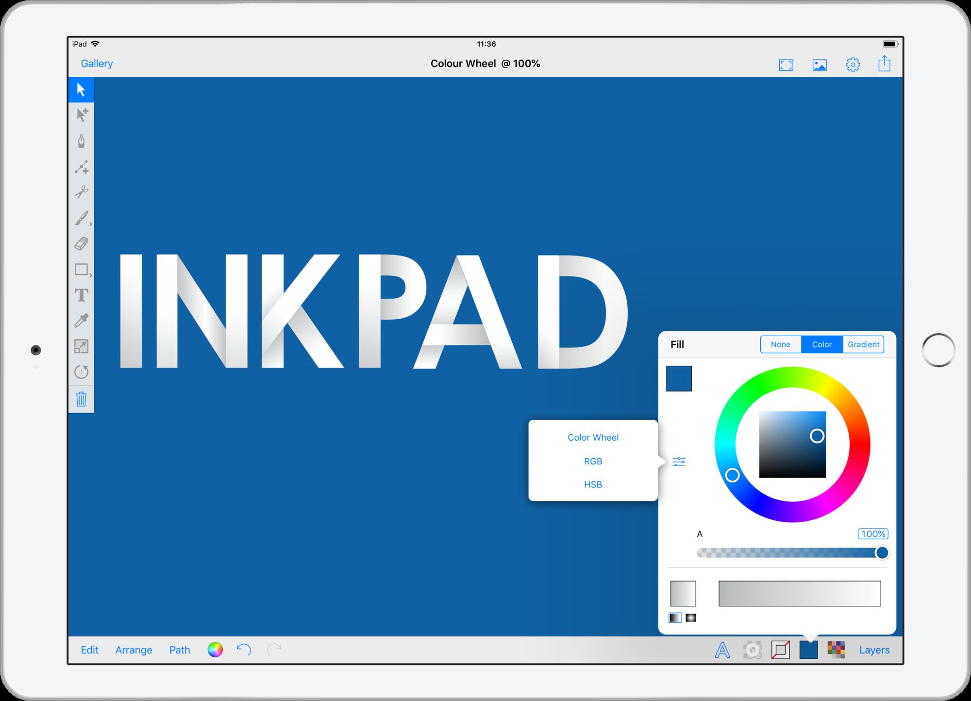 Inkpad HSB color wheel